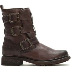 Frye Women's Valerie Strappy Shearling Dark Brown Boots ($498) ❤ liked on Polyvore featuring shoes, boots, brown, strappy shoes, frye boots, sheep fur boots, brown shoes and frye shoes