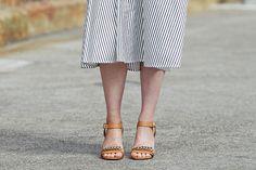 Striped midi skirt, ankle-strap sandals