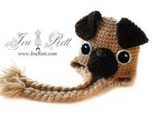 Handmade Crochet Pug Puppy Dog Hat for all ages #crochet
