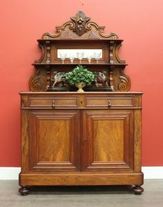 Antique English Walnut & Oak Mirror Back Sideboard Buffet Cabinet Cupboard c1880