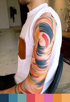Tattoo by Amanda Watchob / @Monica Gomez Jimenez Coral cria paleta de cores para #tattoofriday de aquarelas no Follow the Colours.