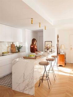 This apartment in Madrid is filled with sophisticated taste in every detail - its owner, interior designer Lucia Marinas has shown all her skills to ✌Pufikhomes - source of home inspiration Kitchen Room Design, Home Room Design, Modern Kitchen Design, Living Room Kitchen, Kitchen Layout, Home Decor Kitchen, Interior Design Kitchen, Home Kitchens, Kitchen Ideas