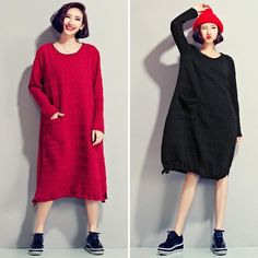 Black and Red Plus Size Art Loose Long Sleeve Dresses Women Tops D2003A