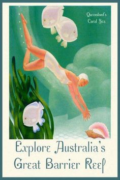 Australia Coral Sea Great Barrier Reef Fish Fine Vintage Poster Repro Free s H   eBay