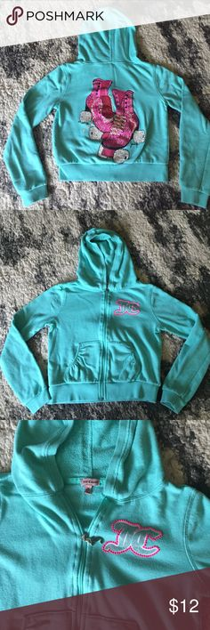 Juicy Couture Rhinestone Roller Skate Hoodie M Juicy Couture Rhinestone Roller Skate Hoodie M  retail $38 GUC no stains or flaws just regular wear. Juicy Couture Shirts & Tops Sweatshirts & Hoodies