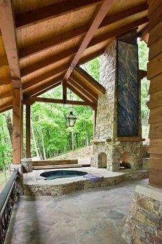 #stone #fireplace #hot_tub