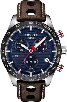 61b98db0a46 Tissot T100.417.16.041.00 V8 stainless steel and leather chronograph watch   MensWatches Expensive