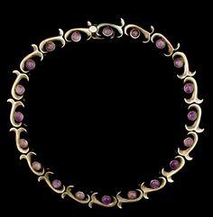 Necklace | Antonio Pineda.  Sterling silver and Amethyst.  ca. 1950s, Mexico