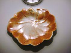 Vintage FLAMBE Glaze HAROLD JOHNSON Lotus Leaf Low BOWL by nanberrysoda $45