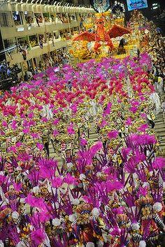 Carnival reaches its climax as Samba schools perform in the Sambadrome in Rio de Janeiro.