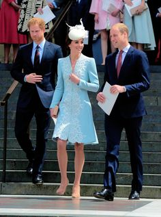 June 10, 2016 I The Duke and Duchess of Cambridge together with Prince Harry in St Paul's Cathedral for a national thanksgiving service marking Queen Elizabeth II's ninety years.