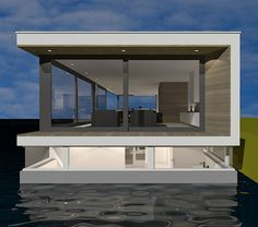 Nieuwbouw woonboot Utrecht door architect amsterdam | houseboat Floating Architecture, Water Architecture, Modern Architecture, Building A Container Home, Sea Container Homes, Archi Design, Water House, Contemporary House Plans, Micro House