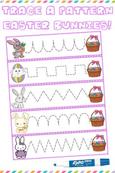 """$1   Trace The Pattern: Bunnies & Baskets Cards. Help your child develop their pre-writing and fine motor skills with """"Trace the Pattern"""" printable cards. Print these out, cut them up, and then laminate for use with Expo markers and pens. Set includes 25 cards. #preschool #preschoolers #preschoolactivities #kindergarten #Homeschooling"""