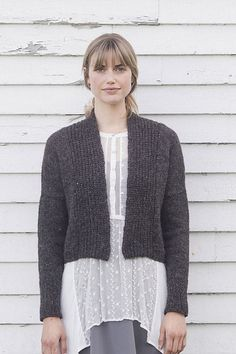 We love Maple—it's semi-cropped in the body; it features a cushy brioche collar that hugs the neck; and it features fitted sleeves and a narrow back neck for a close fit where it counts. The best part of the knitting here is in working two stitch patterns with varying row gauges (brioche and stockinette) at the same time, balanced out by strategically-placed short rows in the trim.