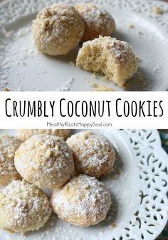 Crumbly coconut cookies, made with einkorn flour