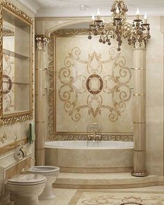 ivory and champagne opulent bathroom and tile work, lighting and home accents, DesignNashville.com