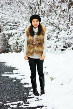 Snow Day :: Faux Fur Vest & Cowl Neck Sweaters