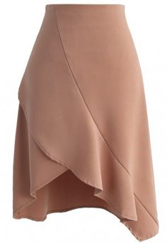 Slide this easy tan skirt into your wardrobe for a dependable statement piece that you can style with your most beautiful blouses. - Asymmetric hi-lo frilling hem - Concealed side zip closure - Half lined - 100% polyester - Hand wash Size(cm)Length Waist S 42-66 66 M 43-67 70 Size(inch)Length Waist S 16.5-26 26 M 17-26.5 27.5 * S fits for US 4, UK 8, EU36 * M fits for US 6, U...