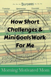 How Short Challenges and Mini Goals Work for Me. It all started with a Burpee - I was shocked that the simple task of setting the specific small goal and holding myself accountable by tracking my progress really worked. Writing it down is key!
