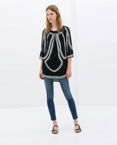 ZARA - WOMAN - STONE-EMBROIDERED TUNIC WITH ASYMMETRIC HEM