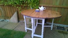 Oak wooden table stripped, sanded, oiled and legs painted cream ...