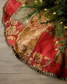 H6CE5 French Laundry Home Patchwork Christmas Tree Skirt