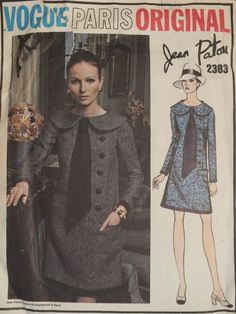 Amazing VTG 60s VOGUE PARIS ORIGINAL 2383 Jean Patou A-line Dress PATTERN 10…
