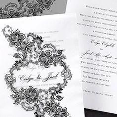 Classic Black and White Wedding Invitation with Translucent Envelope honey-paper.com