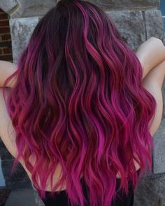 balayage violet brown hair, fall hair woman wearing black top, medium length wavy hair hair 2020 ▷ hair color ideas you definitely need to try in 2020 Violet Brown Hair, Pink Ombre Hair, Hair Color Pink, New Hair Colors, Cool Hair Color, Pink With Black Hair, Magenta Red Hair, Brown Skin, Medium Length Wavy Hair