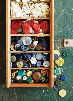 Bowerbird Competition Week 2 Buttons - The Society inc. by Sibella Court Sewing Rooms, Button Crafts, Sewing Notions, Craft Storage, Haberdashery, Vintage Buttons, Getting Organized, Vintage Sewing, The Help
