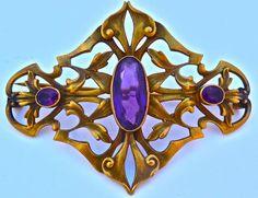 189.00 Antique French Art Nouveau Belle Epoque Victorian Era Amethyst Sash Pin Brooch | eBay