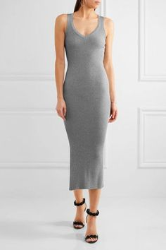 Mugler - Metallic Ribbed Stretch-knit Midi Dress - Silver