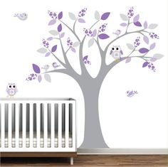 Vinyl Wall Decal Sticker Tree with Birds,Owls-Nursery Tree Decal. $99.00, via Etsy.