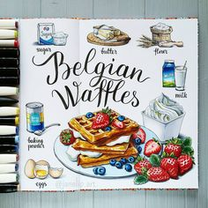 A few days ago I woke up and I was so . Marker Kunst, Copic Marker Art, Sweet Drawings, Art Drawings Sketches, Girl Drawings, Recipe Drawing, Food Drawing, Drawing Faces, Drawing Tips