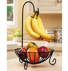 Banana Tree Fruit Basket Wrought Iron Space-Saving Holder Storage