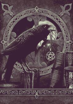 art Black and White moon Grunge books moonlight raven goth gothic pentagram crow pagan wicca symbols my blog spellbook The Morrigan monochromancy