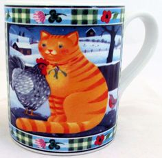 Cat Mug Exclusive Funny & Cute Cat Farm Scene Porcelain Mug Hand Made in the UK #RainbowDecorsLtd #Contemporary