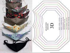 Molde de mascara 3D em todos os tamanhos gratis para imprimir - Como Fazer Sewing Patterns Free, Sewing Tutorials, Sewing Crafts, Free Pattern, Sewing Projects, Easy Face Masks, Diy Face Mask, Mascara Tutorial, Scrubs Pattern