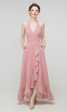 V-neck Long High Low Bridesmaid Dress with Slit in dusty rose How Many Bridesmaids, Dusty Blue Bridesmaid Dresses, Pink Bridesmaids, Junior Bridesmaids, Minimalist Dresses, Slit Dress, Dusty Rose, Wedding Ideas, Wedding Inspiration