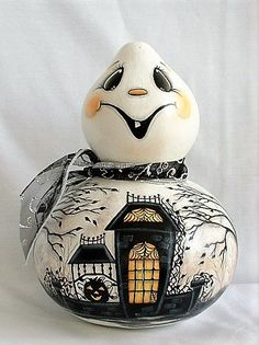 Halloween Ghost Gourd with Haunted House  - Hand Painted Gourd Halloween Gourds, Halloween Ghosts, Wired Ribbon, Ribbon Bows, Spooky Trees, Hand Painted Gourds, Gourds Birdhouse, Jack O, Bird Houses