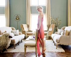 Erin Fetherson's New York home with French-inspired pieces such as winged back chairs and couches.