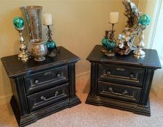 Smoky Black End Tables  Quality Construction by Bassett  Refinished in Satin Black with Silver antiquing, lightly distressed  Original Hardware refinished in silver with black antiquing