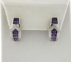 Modern 18k Gold Diamond Amethyst Half Hoop Earrings Featured in our upcoming auction on September 13!