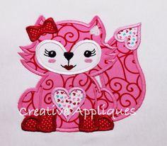 Valentine Heart Fox Girl Machine Embroidery by Creativeapplique, $2.00