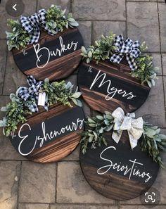 Custom Personalized Wood Wreath Sign on Mercari Wooden Door Signs, Front Door Signs, Diy Wood Signs, Front Door Decor, Wooden Door Hangers, Home Wood Sign, Wood Pallet Signs, Custom Wood Signs, Porch Signs
