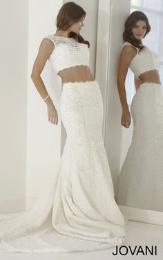 Two-Piece Lace Bridal Dress JB25677 💟$259.99 from http://www.www.antebrands.com   #mywedding #weddingdress #lace #wedding #bridalgown #twopiece #dress #bridal