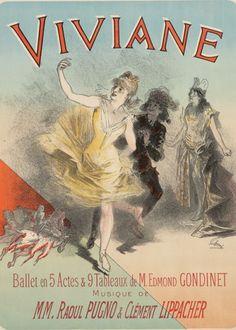 Poster by Jules Chéret, 1886, Viviane, Ballet, Eden-Théâtre, Paris.