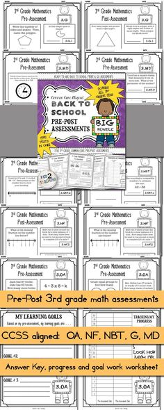 This Back to School Common Core Pre/Post Math Assessments for 3rd Grade Bundle comes with all FIVE PRE/POST ASSESSMENTS ALIGNED TO 3rd GRADE  Each of the five tests can be used as either a pre-test a post test or both! In addition to the tests, for each CCSS strand you will also receive a TRACKING MY PROGRESS student data sheet for data notebooks as well as a MY GOALS student sheet that helps students to take more ownership of their learning!