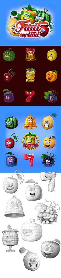 Разработка 3д моделей для игрового слот-автомата. Каждая модель отображена в виде разных фруктов или обьектов. Наши фрукты очень красочные и забавные и порадуют своим видом самых требовательных игроков. Насладитесь! http://slotopaint.com/