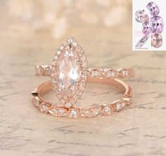 Marquise Morganite Engagement Ring Sets Pave Diamond Wedding 14K Rose Gold 5x10mm - Lord of Gem Rings - 1